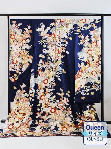 紺地に桜と鞠の振袖/Queenサイズ