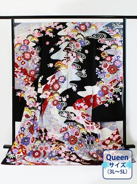 黒地に京紅型風の振袖/Queenサイズ