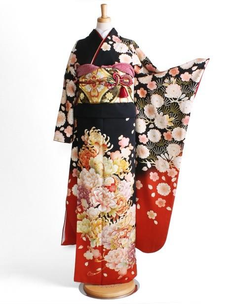黒地に桜が舞う振袖/標準サイズ