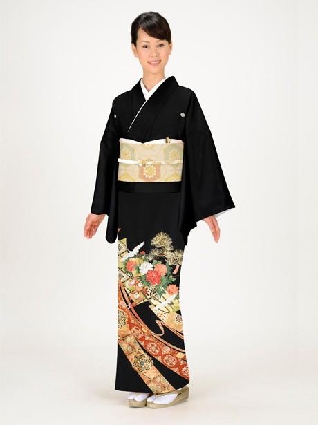 鶴に短冊と熨斗の黒留袖