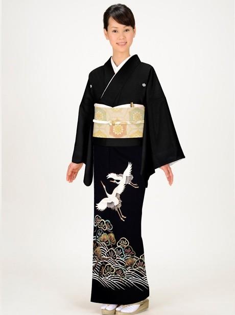 黒地に鶴と松の黒留袖