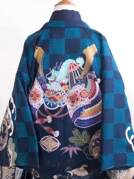 渋紺地に市松と兜/七五三・五歳男の子・袴