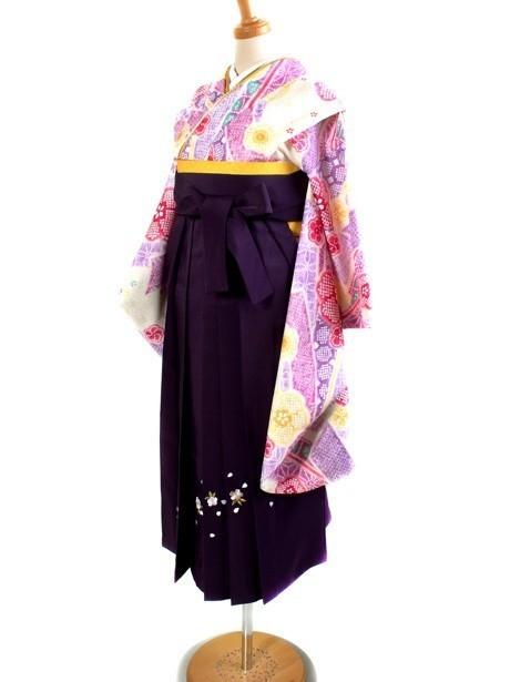 白地に染め疋田・紫袴(小学生)/卒業式
