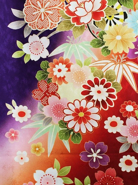 紫地に桜と貝桶の振袖/小さめサイズ