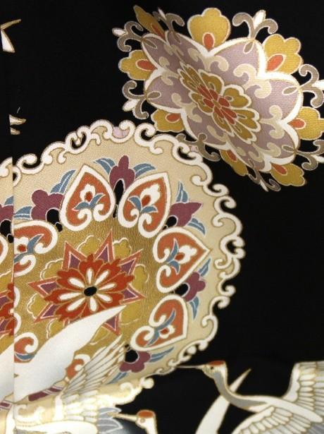 鶴に宝相華の黒留袖/ワイドサイズ